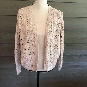 Eddie Bauer Hand Knit Cardigan Cotton Sweater L
